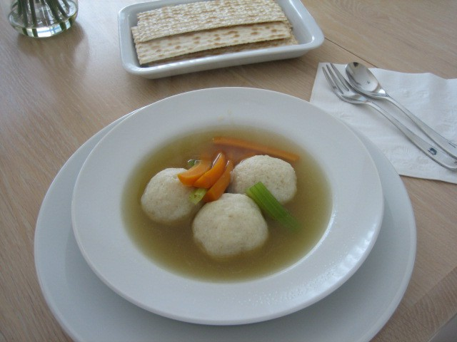 matzo balls in homemade chicken stock