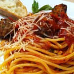 spaghetti and meatballs plated