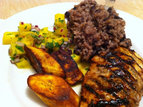 jerk chicken plated