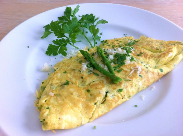 Gruyere cheese and asparagus omelet