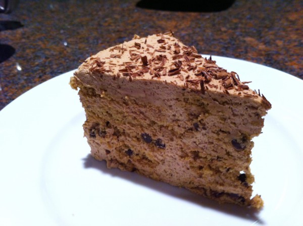 Slice of Chocolate Chip Cream cake