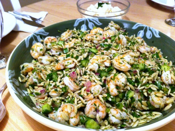 Roasted shrimp pasta salad