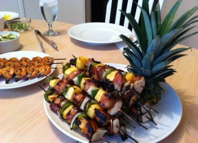 Hawaiian Chicken Kobobs skewers 288x208 Hawaiian Chicken Kabobs