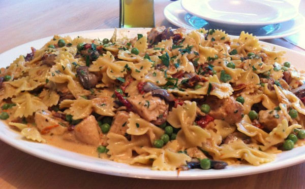 Chicken and Farfalle Pasta in a Roasted Garlic Cream Sauce