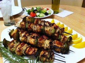 Greek Chicken Kabobs 288x215 Greek Chicken Kabobs