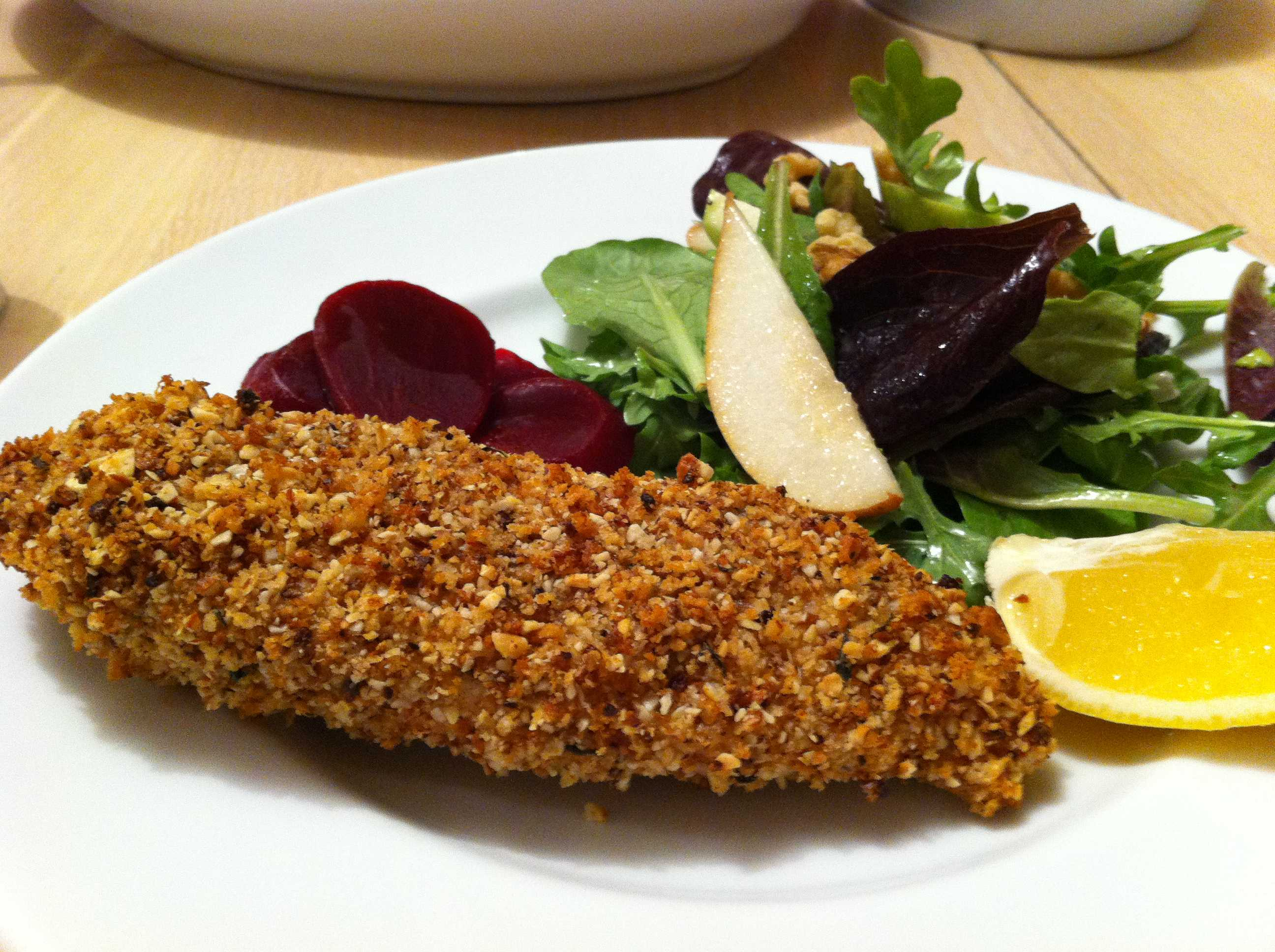 Almond Macadamia Nut crusted Chicken